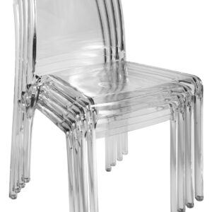 5 Charlize Acrylic Stacking Kitchen Dining Chairs