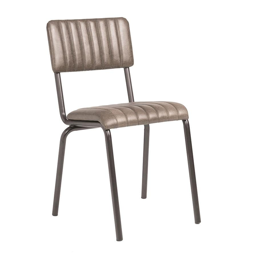 Creme Side Chair - Ribbed - Lascari - Vintage Silver