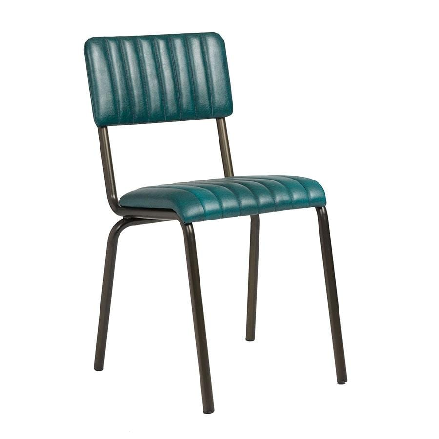 Creme Side Chair - Ribbed - Lascari - Vintage Teal