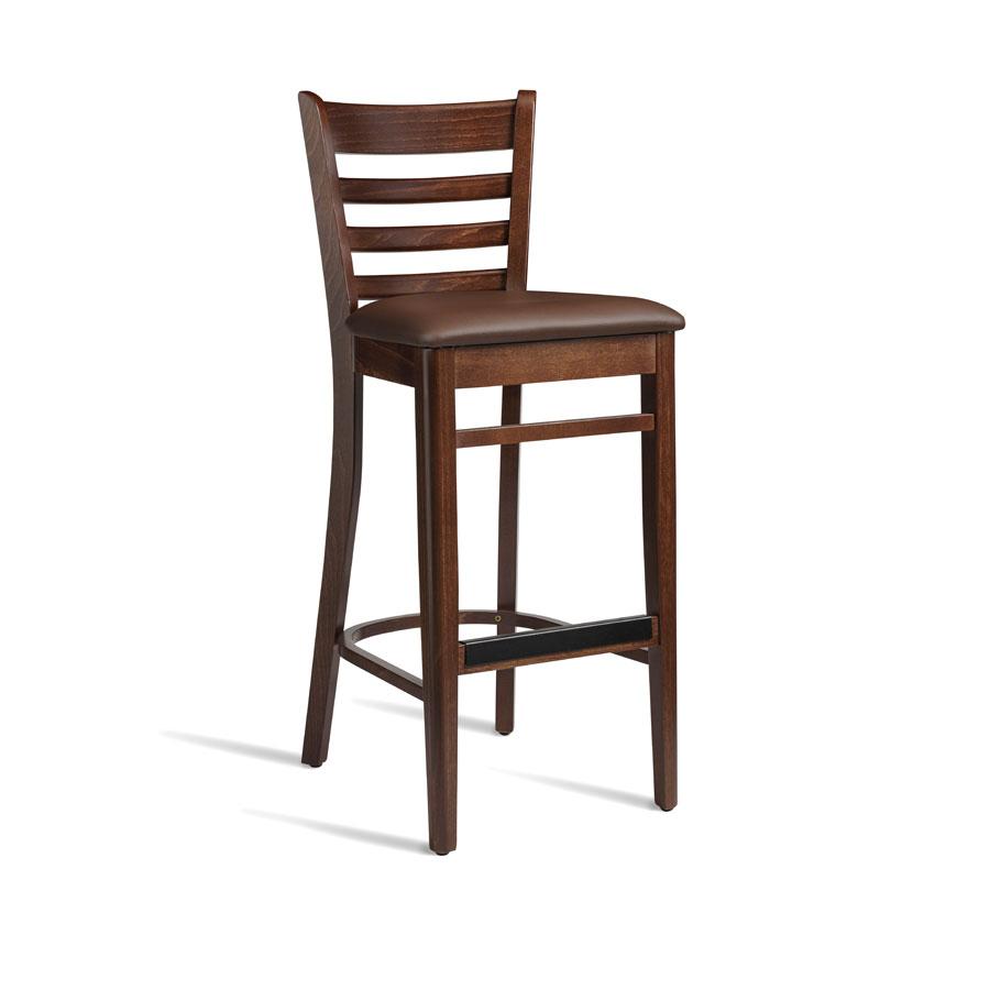 Cristo Walnut Frame Dark Brown Seat Pad Wooden Breakfast Bar Kitchen Stool
