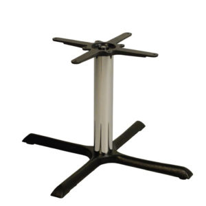 Elliot Cruciform Cast Iron Bar Commercial Table Base - Chrome