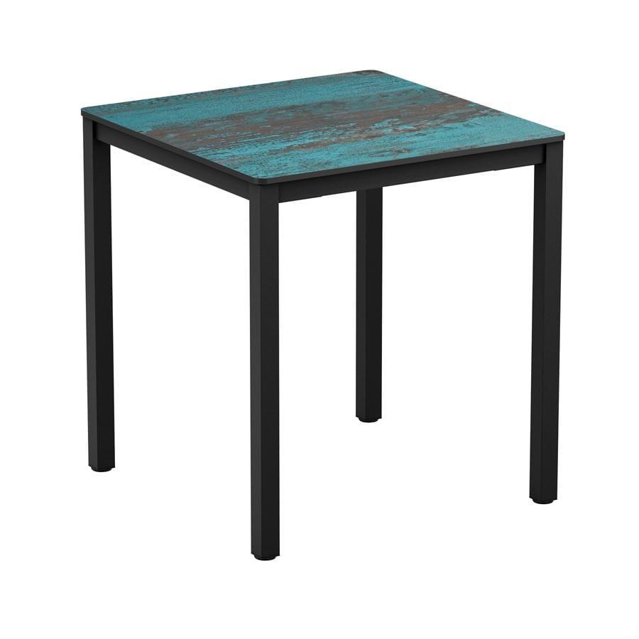 Erman - Vintage Teal - 79x79cm - 4 Leg Dining Table - Black