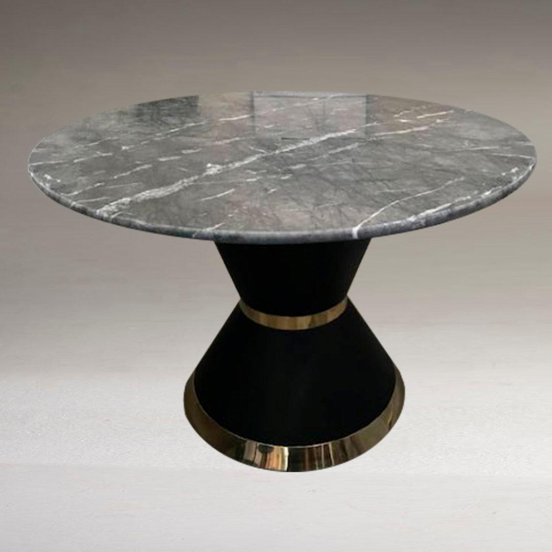 Liguni Round Kitchen Dining Table Marble Or Granite Top Brass And Gun Metal Base
