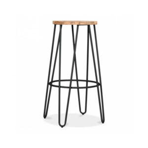 Hale Metal Bar Stool with Elm Wood Seat