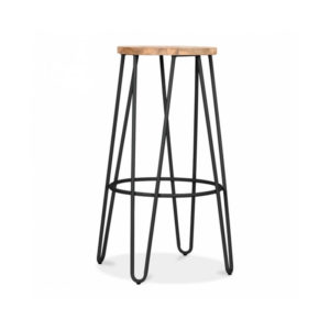 Hale Metal Bar Stool with Elm Wood Seat - Black