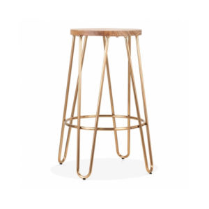 Hale Metal Bar Stool with Elm Wood Seat - Brass