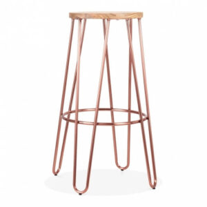 Hale Metal Bar Stool with Elm Wood Seat - Copper
