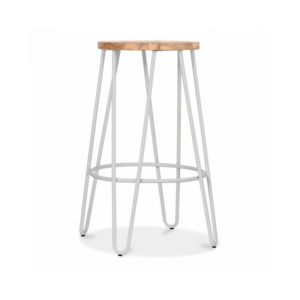 Hale Metal Bar Stool with Elm Wood Seat - Light Grey Matte