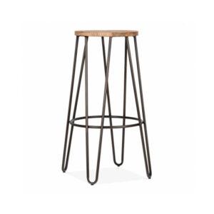 Hale Metal Bar Stool with Elm Wood Seat - Vintage Copper