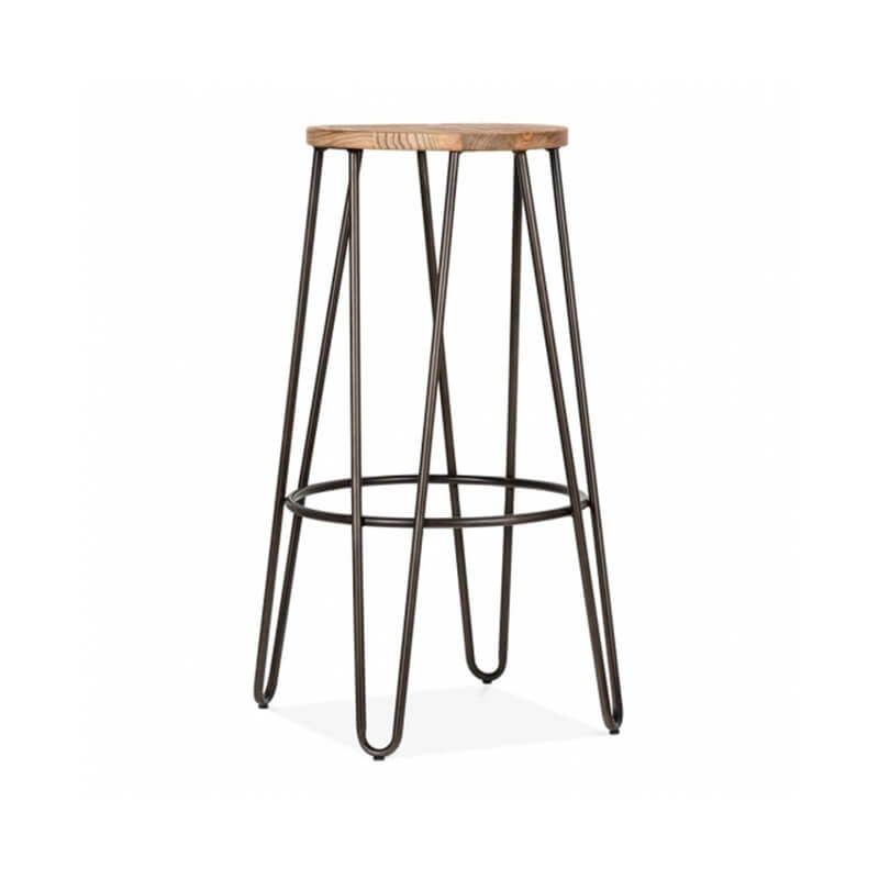 Hale Metal Bar Stool with Elm Wood Seat - Vintage Copper