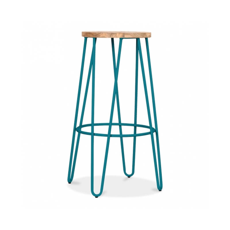 Hale Metal Bar Stool with Elm Wood Seat - Teal