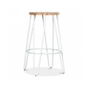 Hale Metal Bar Stool with Elm Wood Seat - White