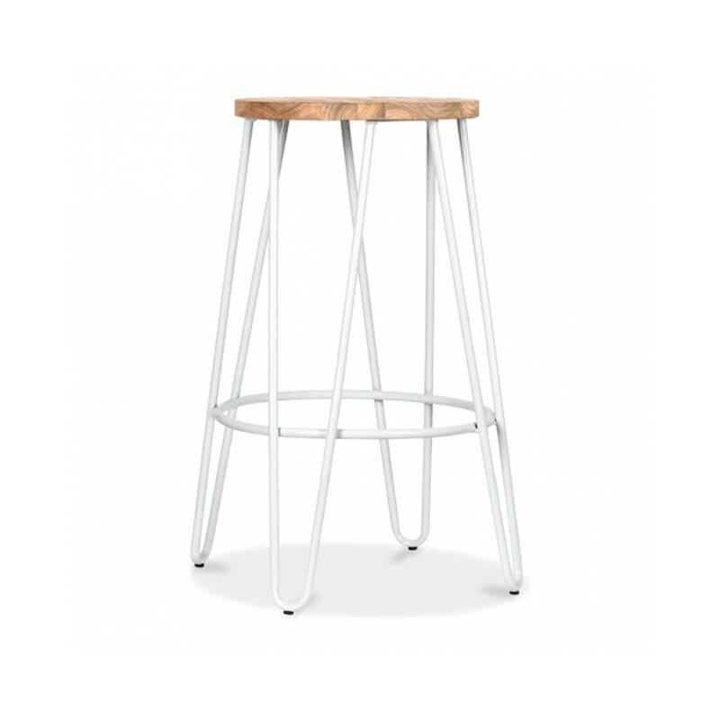 Hale Metal Bar Stool with Elm Wood Seat - White