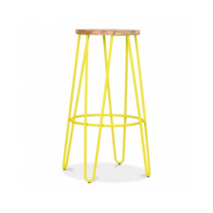 Hale Metal Bar Stool with Elm Wood Seat - Yellow