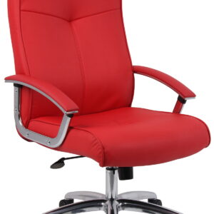 Leris Leather Faced Office Chair Red Seat