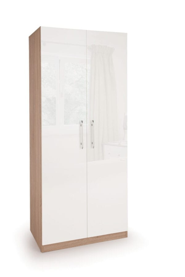 Coral Gloss Quality Bedroom Double Wardrobe - Variety Of Colours