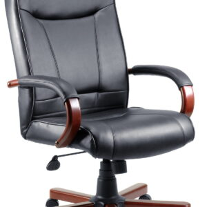Kingslow Dark Wood Office Chair Executive Bonded Leather Faced