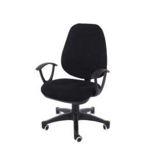home office chair in black fabric with black base