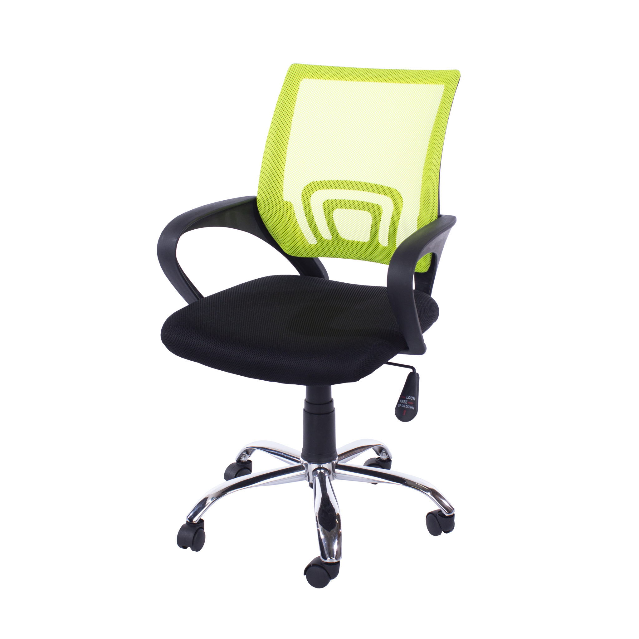 study chair in lime green mesh back
