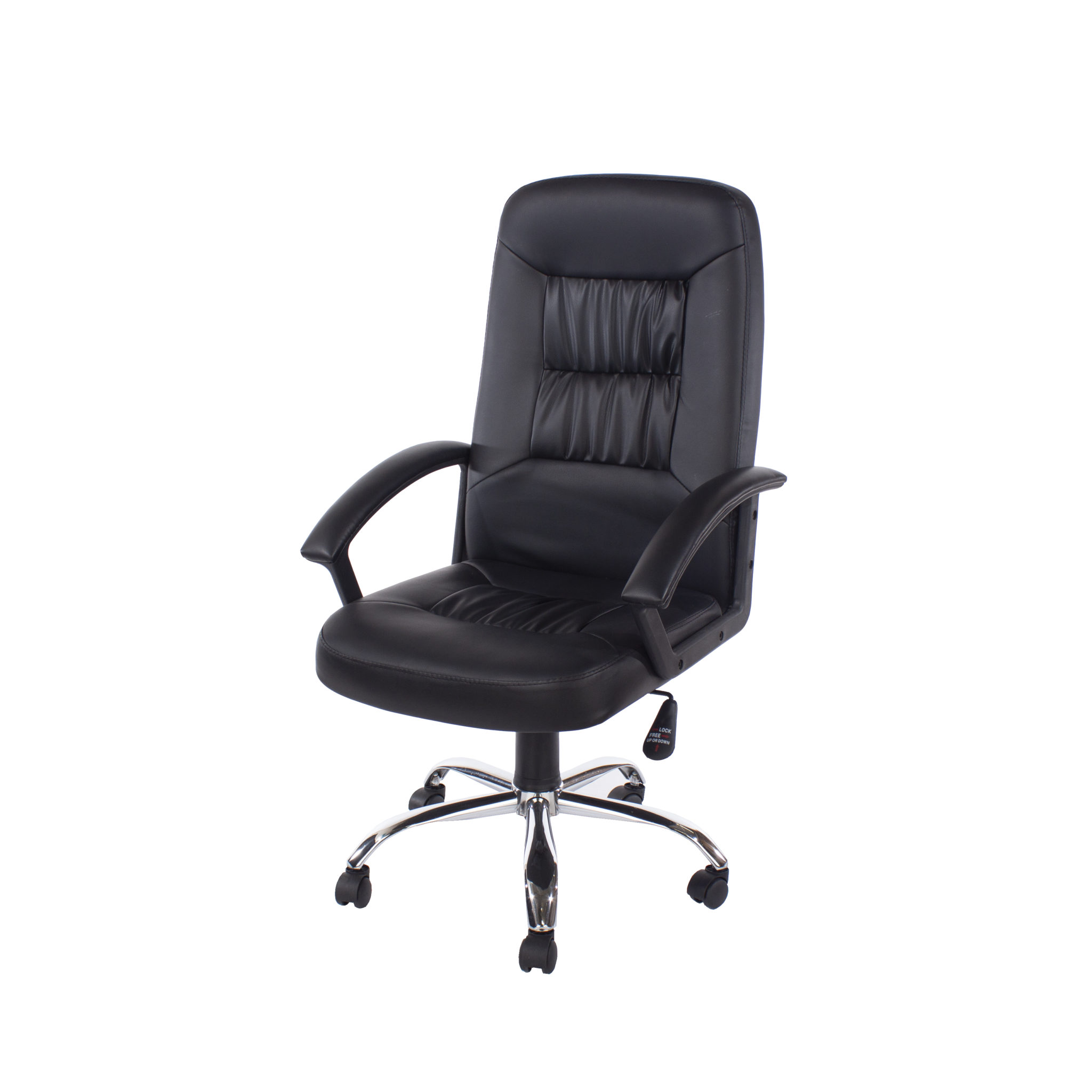 home office chair in high back in black faux leather with chrome base