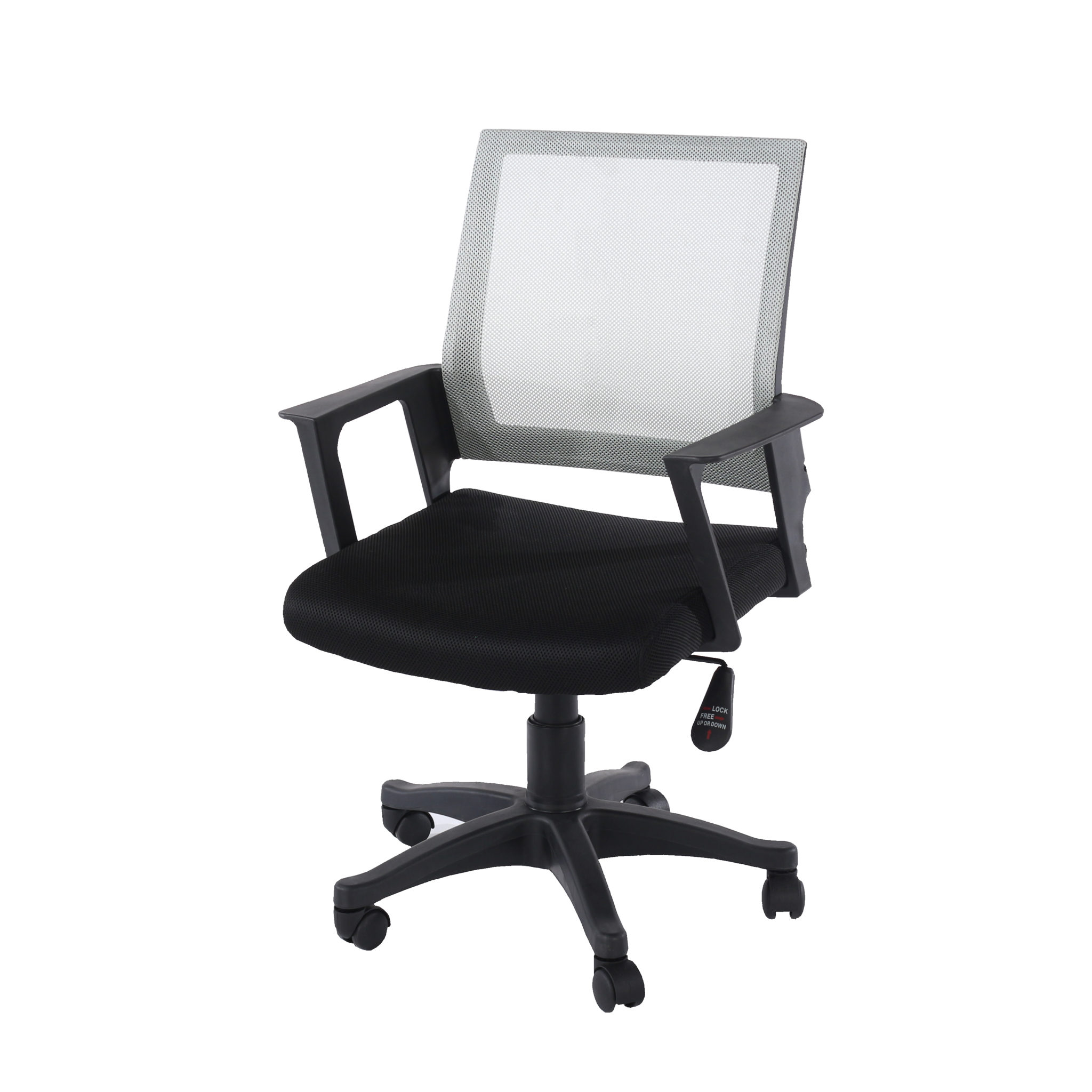 home office chair in grey mesh back with black fabric seat with black base