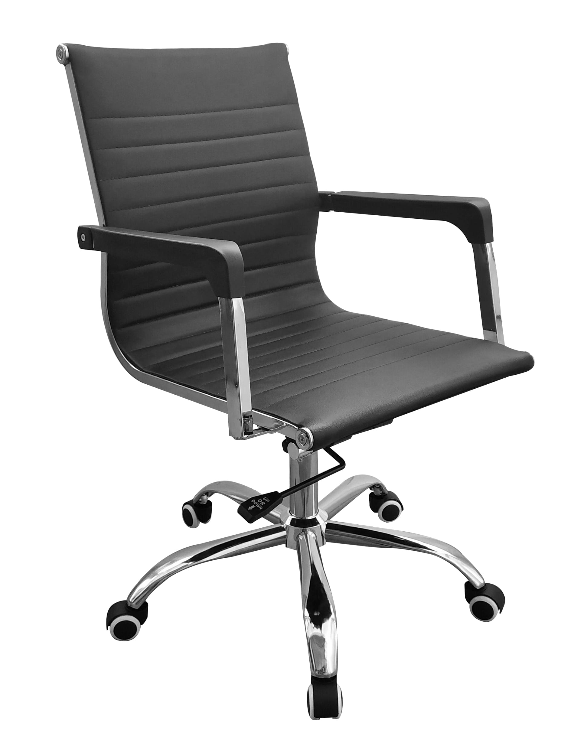 Lust home office chair with contour back in black faux leather with chrome base