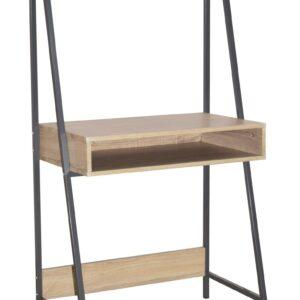 Lust ladder bookcase desk with oak effect and grey metal frames