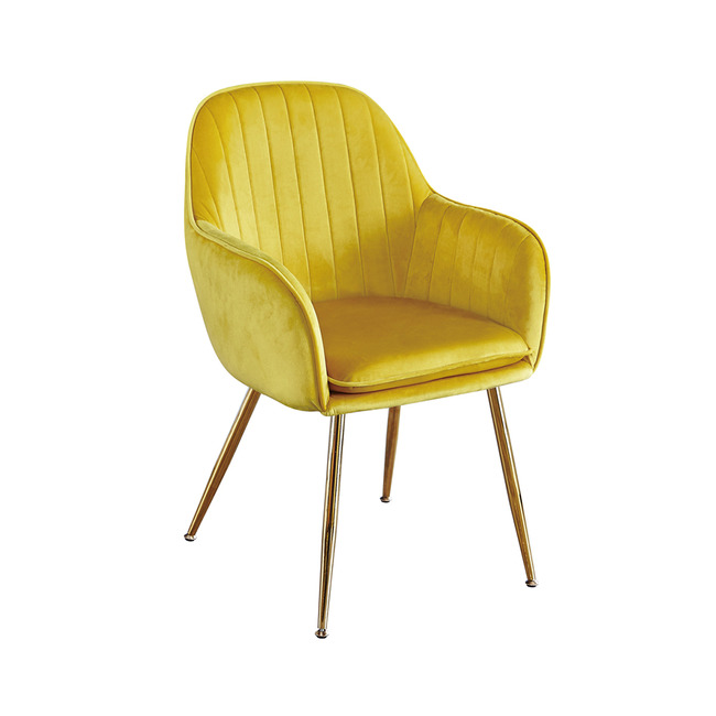 Lourd Dining Chair Ochre Yellow With Gold Legs (Pack of 2)