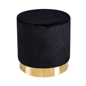 Lourd Pouffe Black Velvet (Pack of 1)