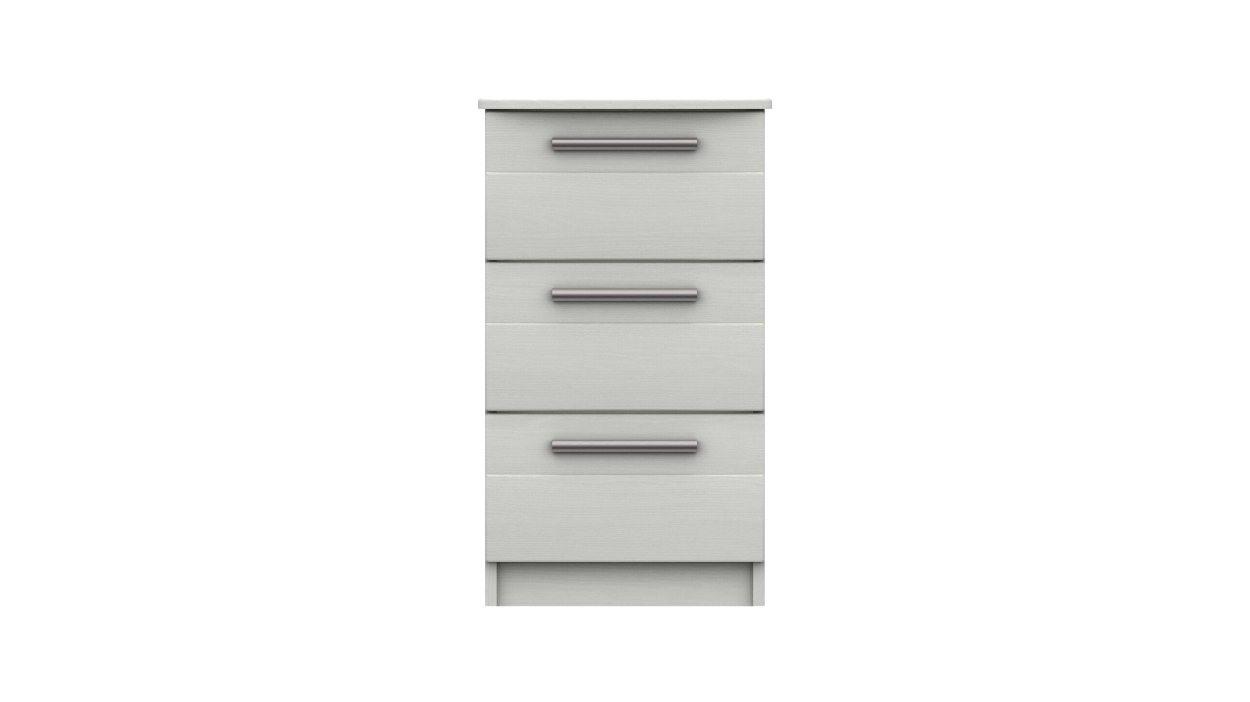 Midas Three Drawer Bedside Table - White Woodgrain