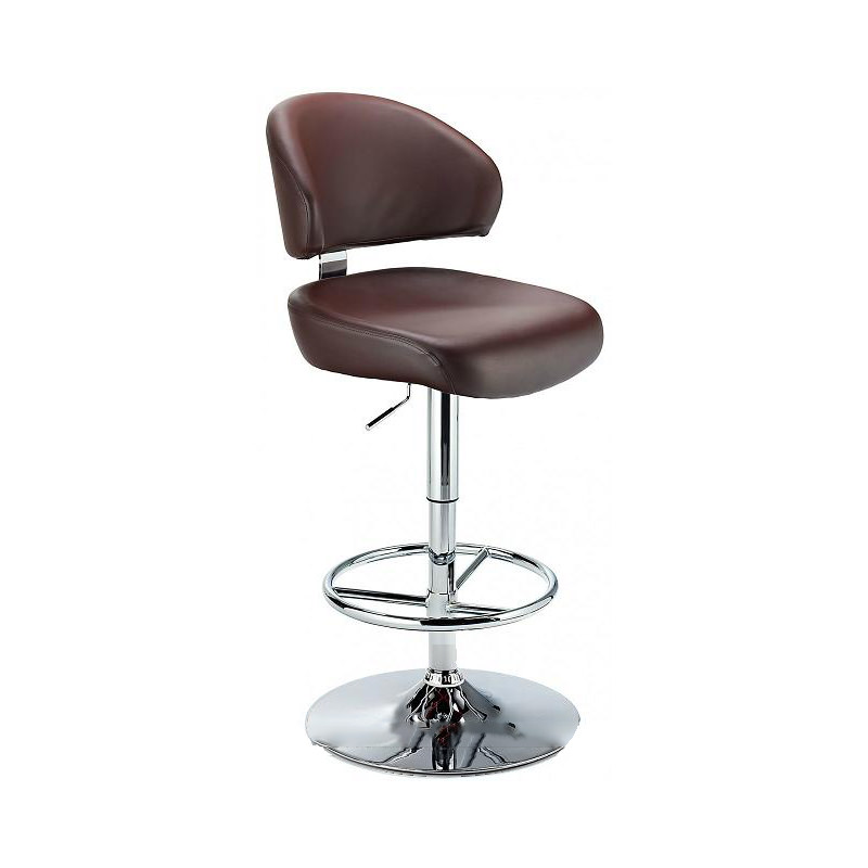 Monarch Padded Seat Adjustable Kitchen Bar Stool - Brown