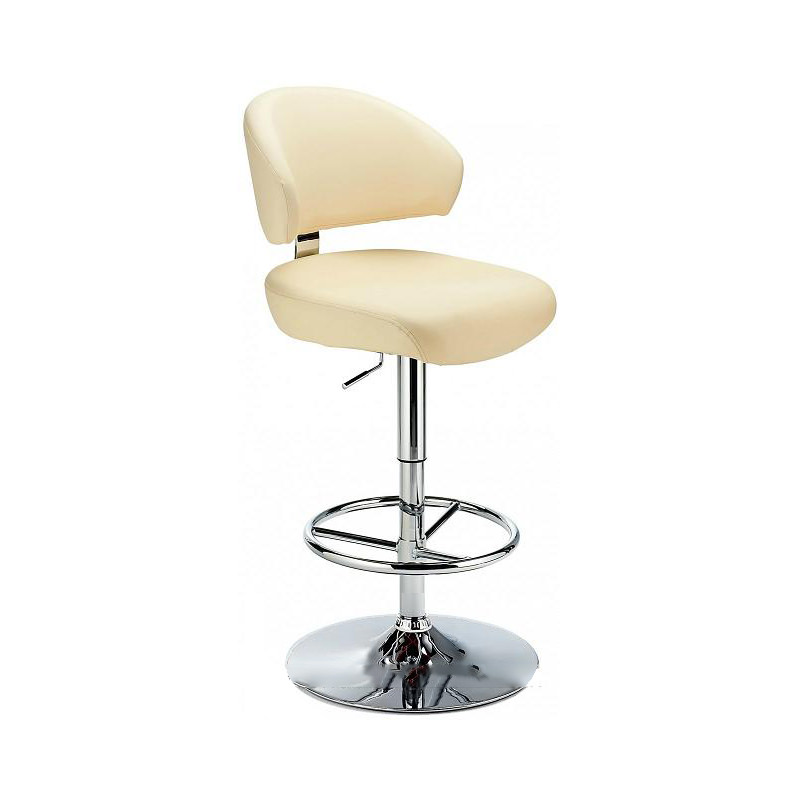 Monarch Padded Seat Adjustable Kitchen Bar Stool - Cream