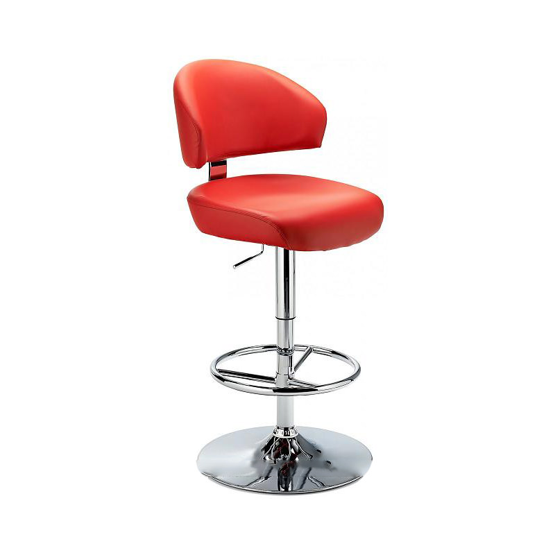 Monarch Padded Seat Adjustable Kitchen Bar Stool - Red