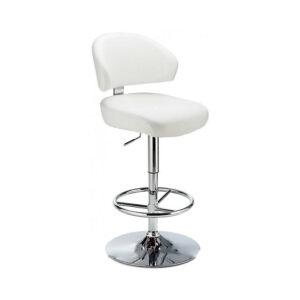Monarch Padded Seat Adjustable Kitchen Bar Stool - White