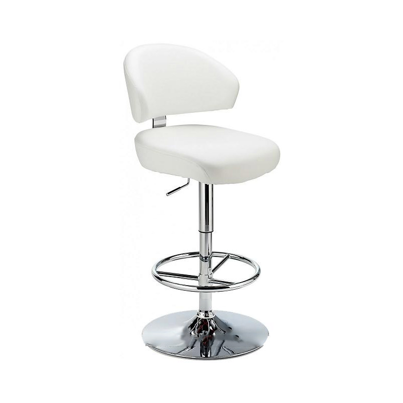 Monarch Padded Seat Adjustable Kitchen Bar Stool - White