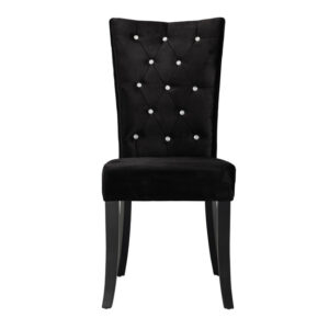 Rivey Dining Chair Black Velvet Pack of 2