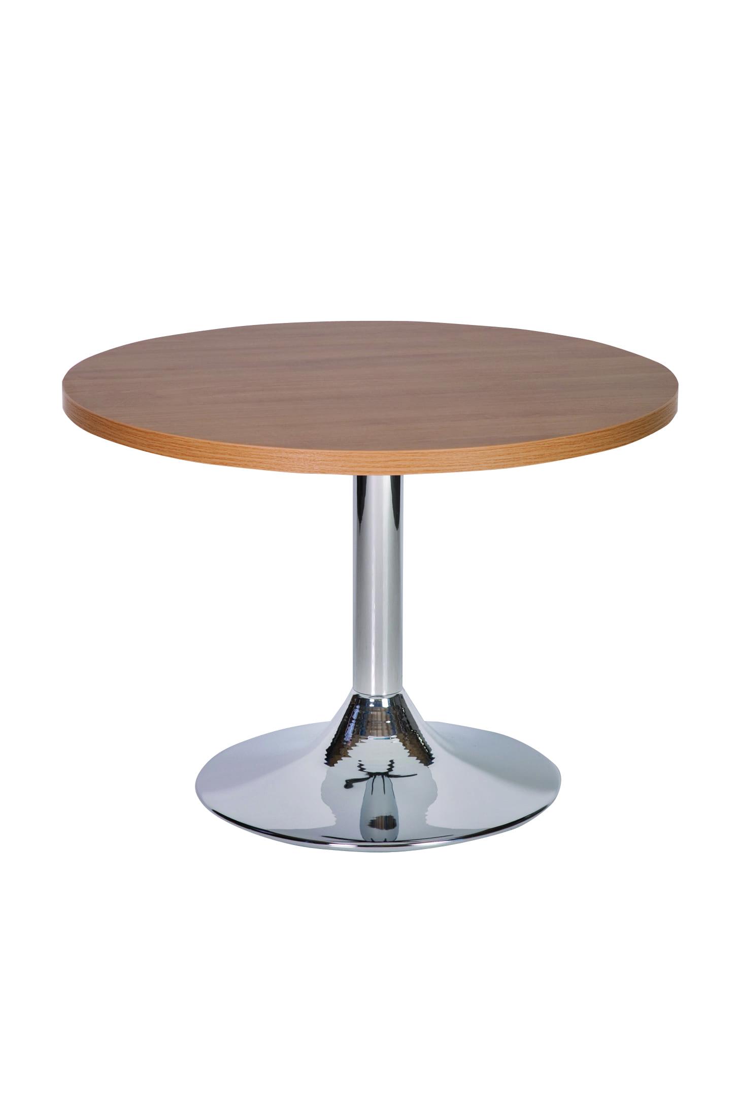 Large Ramizon Round Chrome Table With Laminate Tops - Coffee