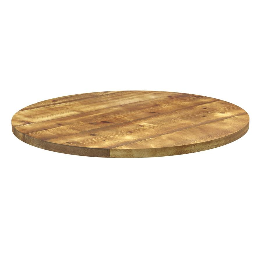 Runic Aged Solid Wood Table Top - 1200Dia x 32mm