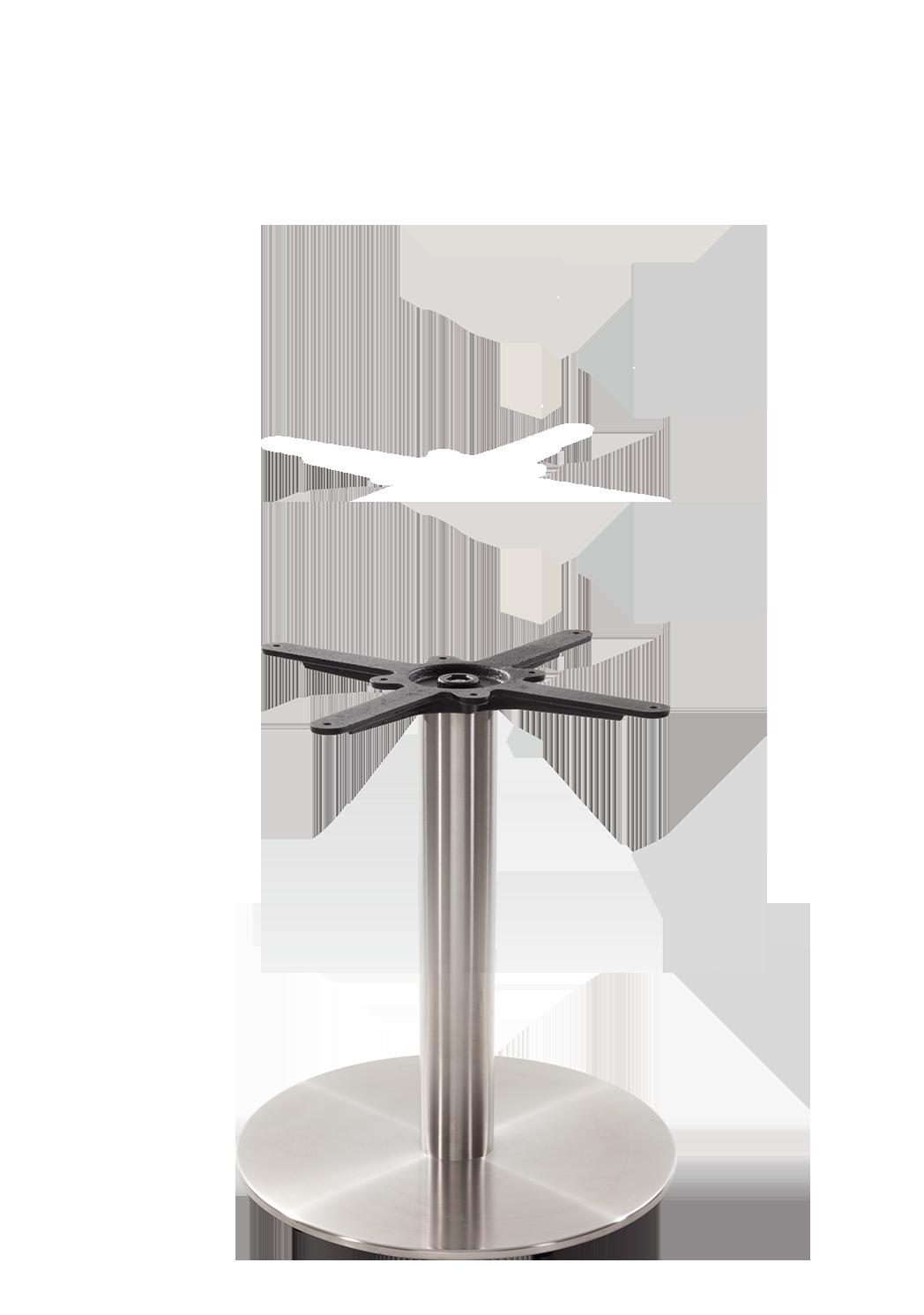 Round s/steel table base - Medium - Coffee height - 480 mm