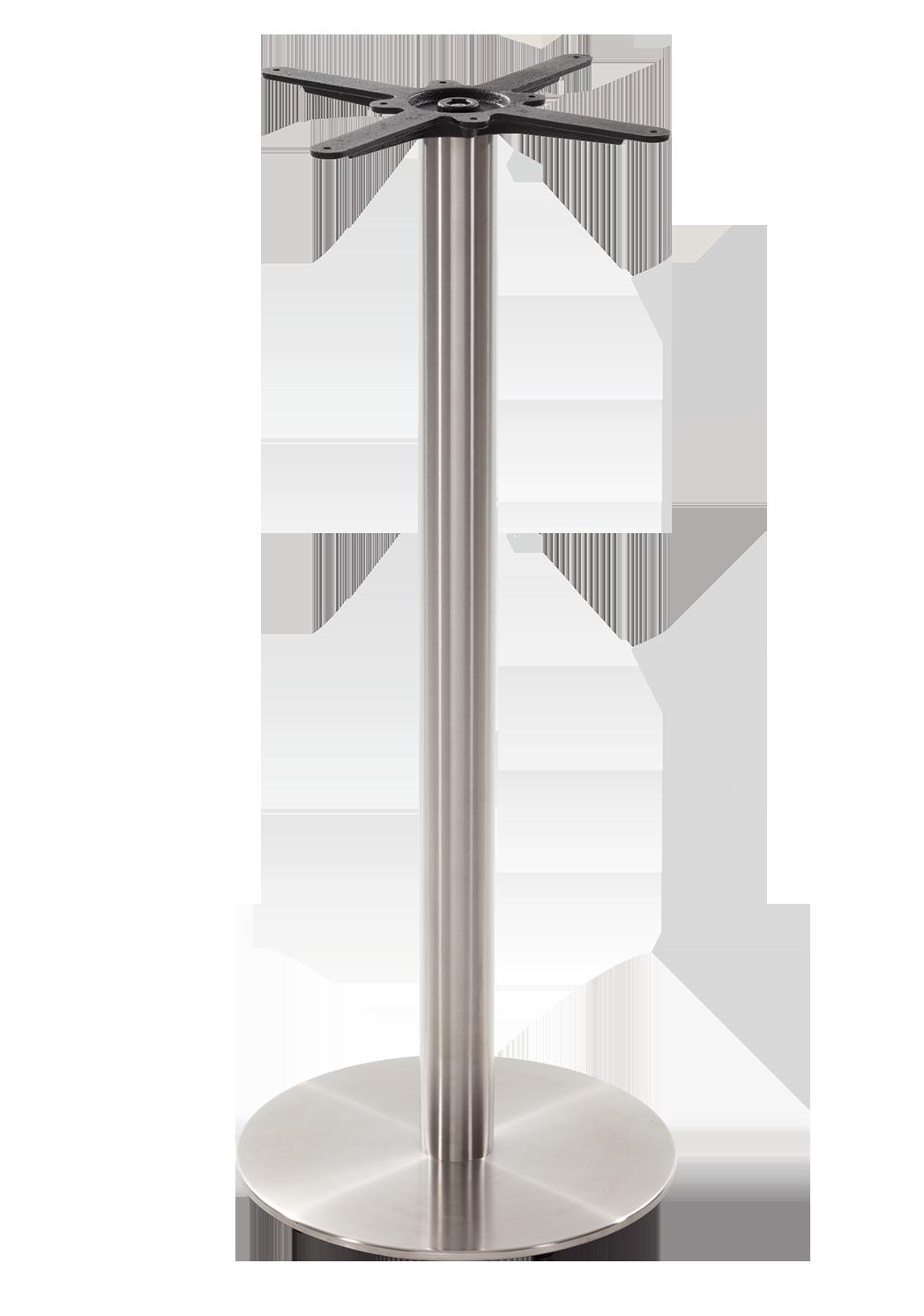 Round s/steel table base - Medium - Poseur height - 1050 mm