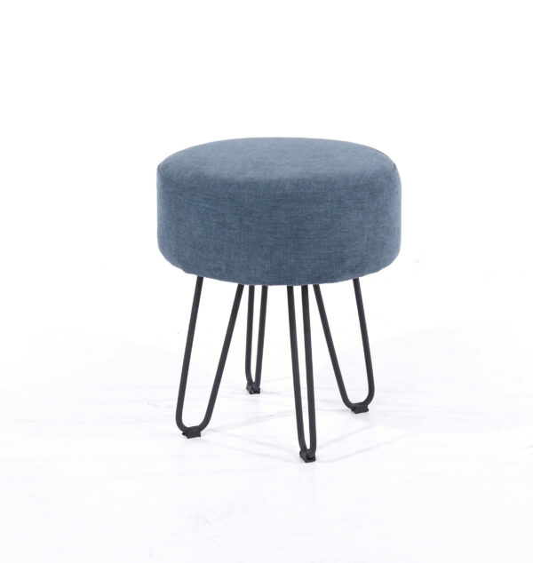 Furry blue fabric upholstered round stool with black metal legs