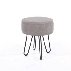 Furry grey fabric upholstered round stool with black metal legs