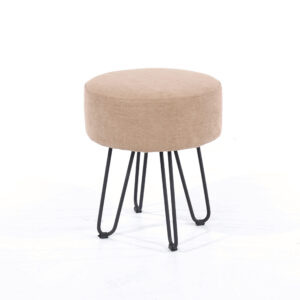 Furry sand fabric upholstered round stool with black metal legs