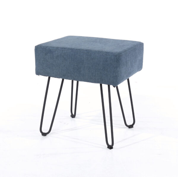 Furry blue fabric upholstered rectangular stool with black metal legs
