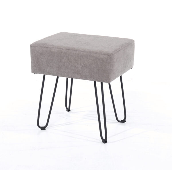 Furry grey fabric upholstered rectangular stool with black metal legs