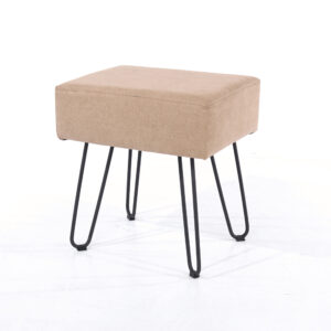 Furry sand fabric upholstered rectangular stool with black metal legs