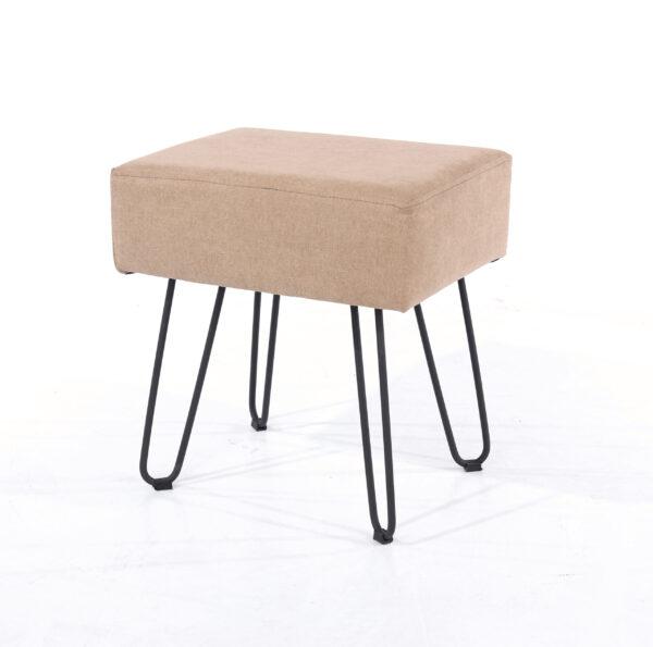 Furry sand fabric upholstered rectangular stool with black metal legs