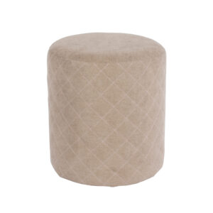 Furry sand fabric upholstered round tub stool