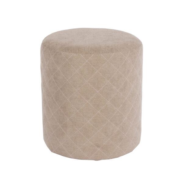 Furry sand fabric upholstered round tub stool