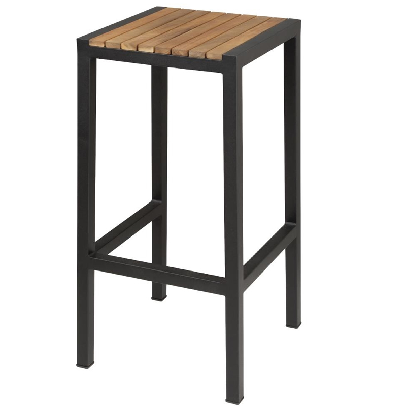 Pair of Sparrow Black & Acacia Wooden Bar Stools